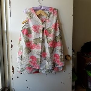 Two Piece Floral Midi Skirt and Top Size XL